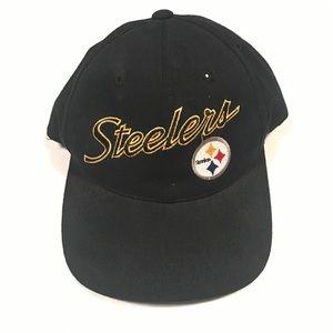 Vtg Pittsburgh Steelers Script SnapBack Hat 90s